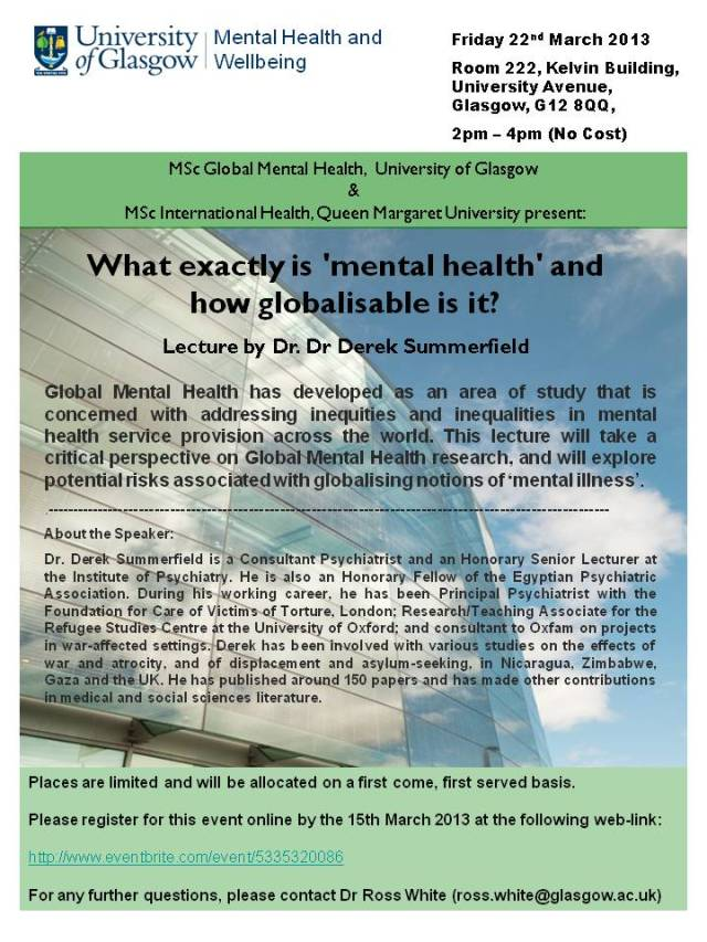 Dr Derek Summerfield Lecture at the University of Glasgow