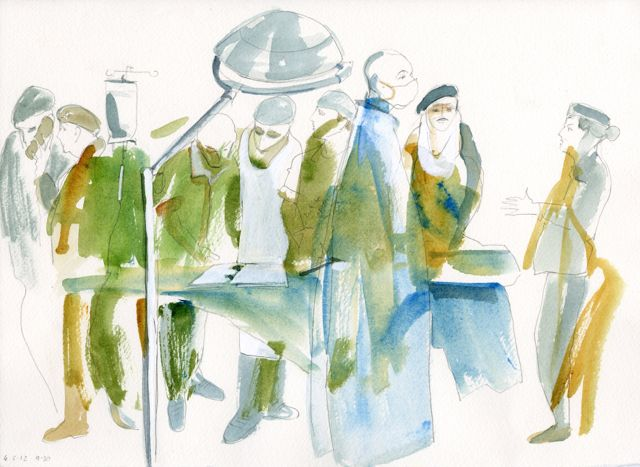 War, Art and Surgery 18: Morning Activity. Julia Midgley, 04.05.12 Hospex Strensall Camp, pencil and wash