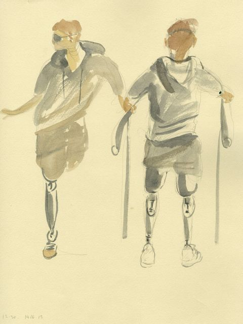 War, Art and Surgery 51: Walking Bars – Furgusson. Julia Midgley, 13.06.12 Headley Court, watercolour and pencil