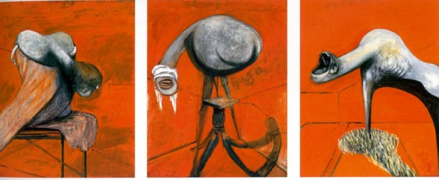 Fig 2. Francis Bacon, (1944) Three Studies for Figures at the Base of a Crucifixion, oil on board.